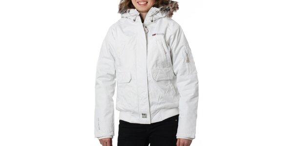 Dámska biela bunda s kožušinkovým límcom Geographical Norway