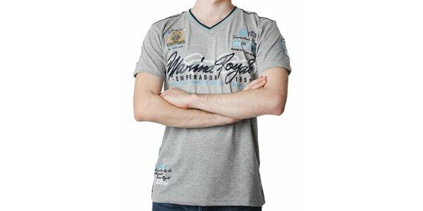 Pánske šedé tričko s potlačou Geographical Norway
