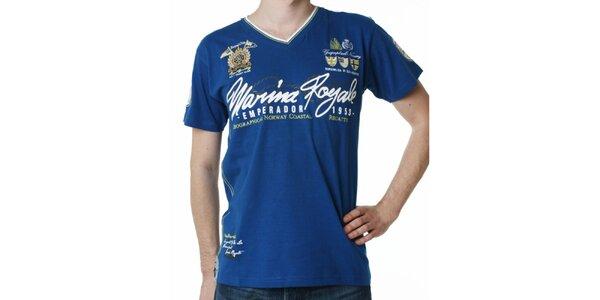 Pánske modré tričko s potlačou Geographical Norway