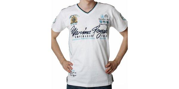 Pánske biele tričko s potlačou Geographical Norway