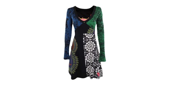 Dámske farebné šaty s véčkovým výstrihom Desigual