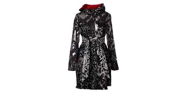 Dámsky šedo-čierny vzorovaný kabát Desigual
