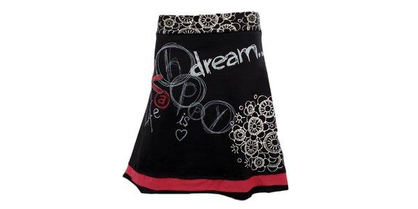 Dámska čierna áčková sukňa s bielou potlačou Desigual