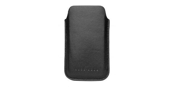 Čierne kožené púzdro na mobilný telefón Hugo Boss