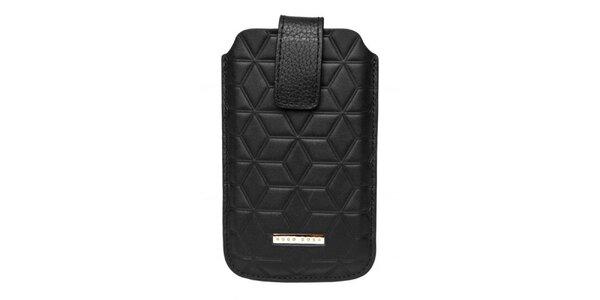 Čierne púzdro na mobilný telefón Hugo Boss so vzorom
