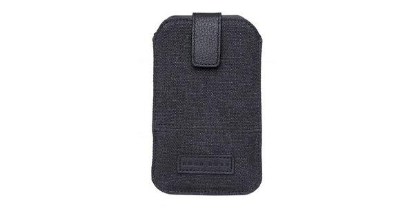 Tmavo šedé textilné púzdro na mobilný telefón Hugo Boss