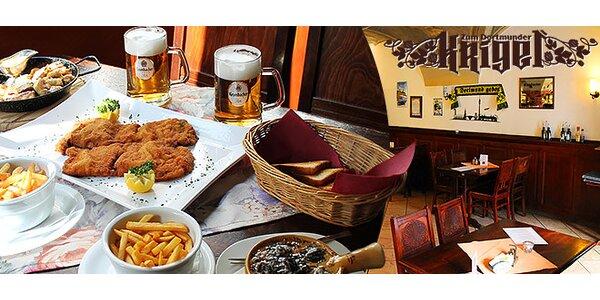 Nemecké menu pre dvoch a pivo Krombacher