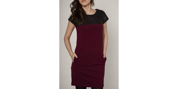 Dámske vínovo-čierne šaty Mell
