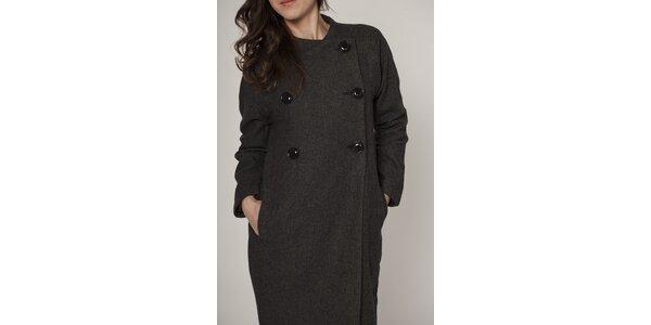 Dámsky tmavo šedý dvojradový kabát Mell