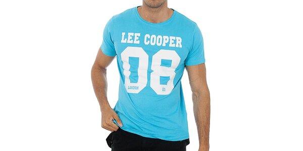 Pánske tyrkysovo modré tričko s potlačou Lee Cooper