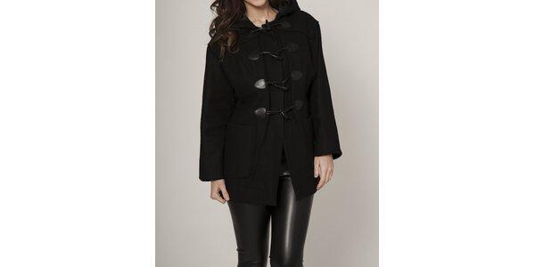 Dámsky čierny kabát Mell s kapucou