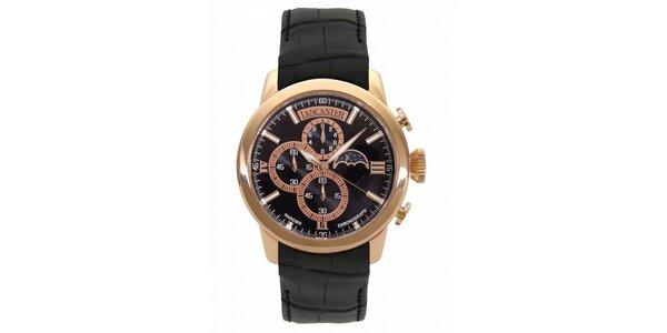 Pánske zlaté hodinky Lancaster s čiernym koženým remienkom