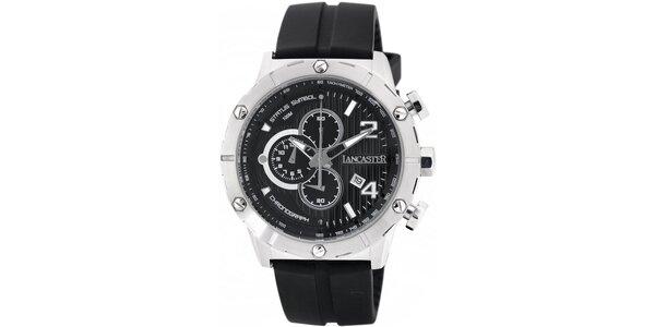Pánske strieborno-čierne hodinky Lancaster s čiernym silikónovým remienkom