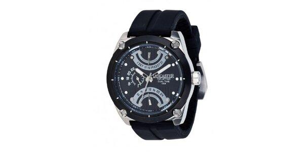 Pánske čierne oceľové hodinky Lancaster so silikónovým remienkom