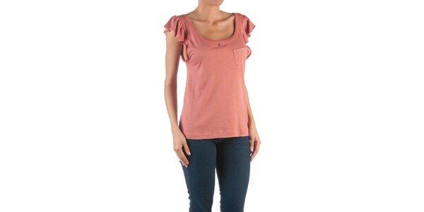 Dámske ružové tričko s volánmi Womens Secret