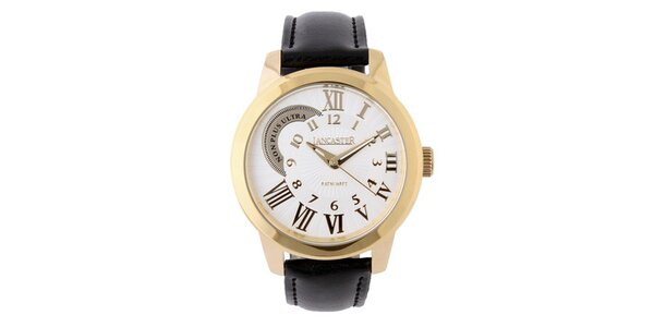 Dámske zlaté náramkové hodinky Lancaster s koženým remienkom