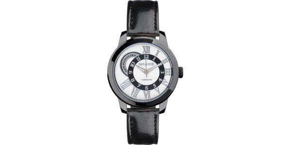 Pánske čierne náramkové hodinky Lancaster s koženým remienkom
