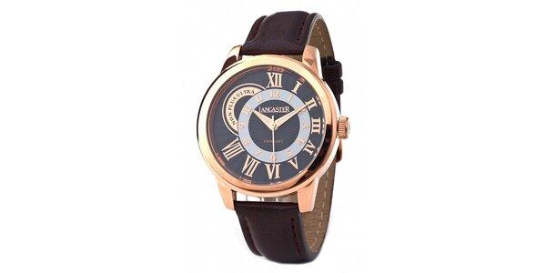 Pánske zlato-hnedé náramkové hodinky Lancaster s koženým remienkom