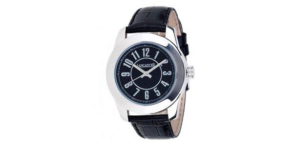 Dámske oceľové hodinky Lancaster s čiernym ciferníkom a čiernym koženým…