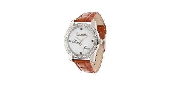 Dámske oceľové hodinky Lancaster s kamienkami a hnedým koženým remienkom