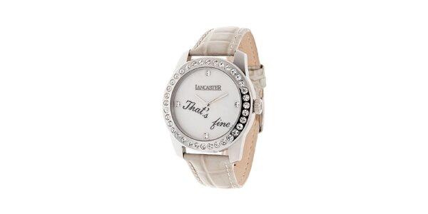 Dámske oceľové hodinky Lancaster s kamienkami a bielym koženým remienkom