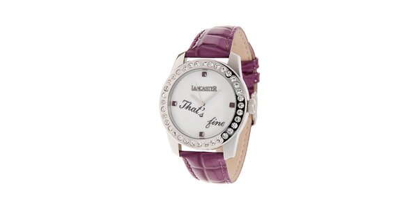 Dámske oceľové hodinky Lancaster s kamienkami a fialovým koženým remienkom