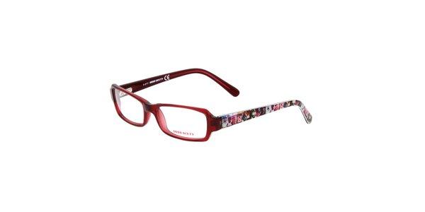 Dámske červené okuliare s farebnými stranicami Miss Sixty
