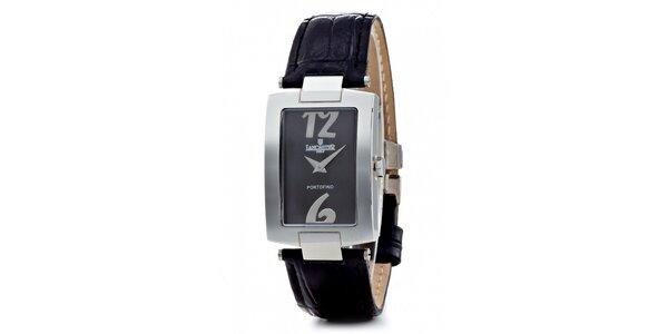 Dámske oceľové hodinky Lancaster s čiernym koženým remienkom