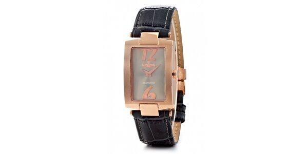 Dámske zlaté hodinky Lancaster s čiernym koženým remienkom
