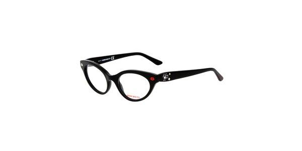 Dámske čierne retro okuliare s pusinkami Miss Sixty