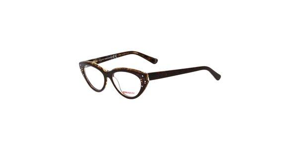 Dámske hnedé retro okuliare s kamienkami Miss Sixty