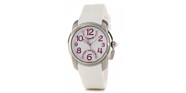 Dámske oceľové náramkové hodinky Lancaster s bielym silikónovým remienkom…