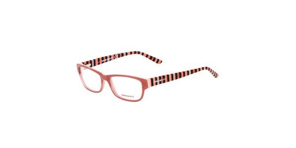 Dámske pruhované broskyňové okuliare Miss Sixty