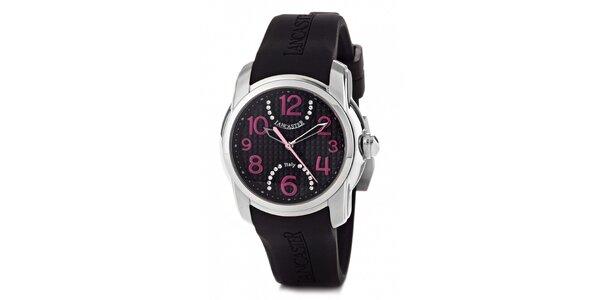 Dámske náramkové hodinky Lancaster s čiernym silikónovým remienkom a kamienkami
