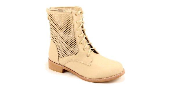 Dámske béžové členkové perforované topánky Bless