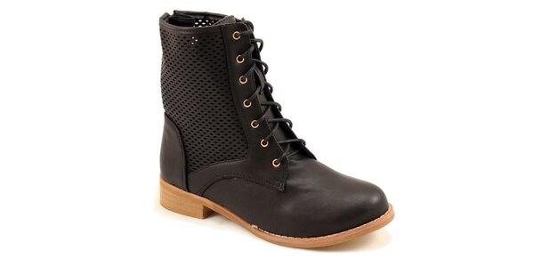 Dámske čierne členkové perforované topánky Bless