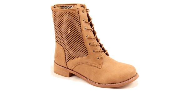 Dámske hnedé členkové perforované topánky Bless