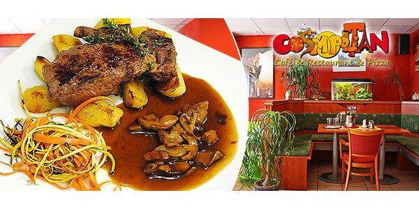 Ryb eye alebo kurací steak s prílohou a vínkom