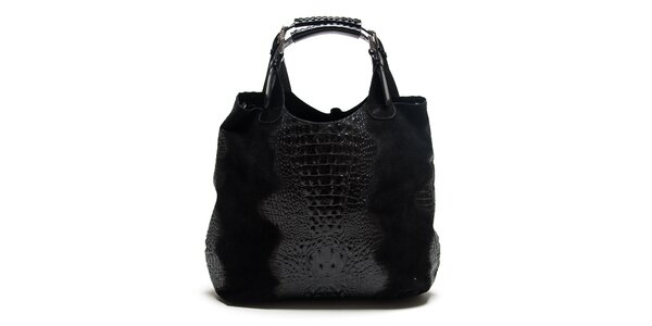 Dámska čierna krokodýlia kabelka Roberta Minelli