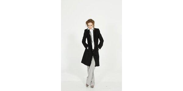 Dámsky čierny zimný vlnený kabát Gene