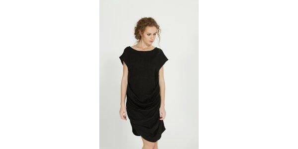 Dámske čierne vlnené šaty Gene s riasením