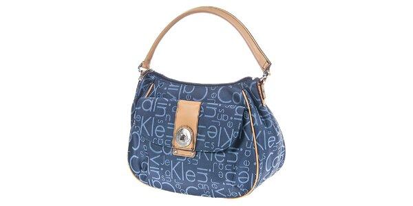 Dámska modrá kabelka s potlačou Calvin Klein