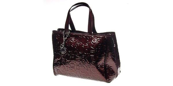 Dámska lesklá kabelka s postrannými zipsami Calvin Klein