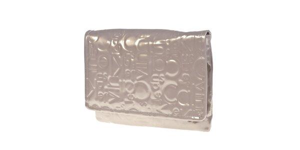 Dámska svetlá lesklá kabelka do ruky Calvin Klein