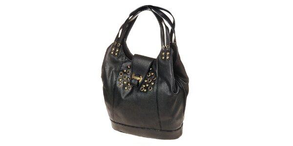 Dámska čierna kabelka s drukmi a cvočkami Calvin Klein