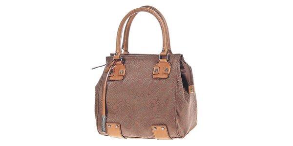 Dámska hnedá kabelka s potlačou a visačkou Calvin Klein