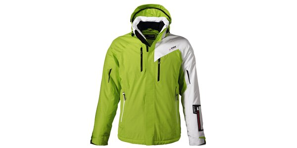 Pánska zelená lyžiarska bunda s bielym rukávom Maier