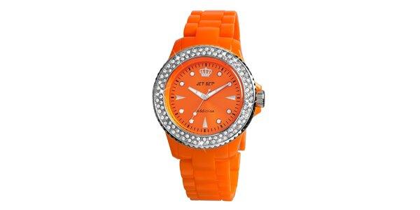 Dámske oranžové hodinky s kamienkami Jet Set