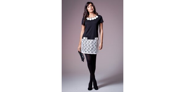 Dámske čierne šaty Ada Gatti s bielou čipkou
