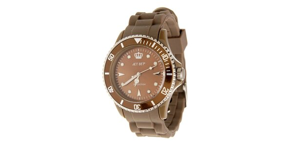 Tmavo hnedé hodinky Jet Set s pryžovým remienkom